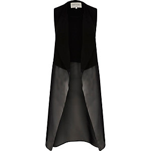 Black chiffon sleeveless duster