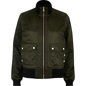 Khaki green high neck bomber jacket