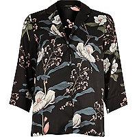 Black floral print cocktail shirt