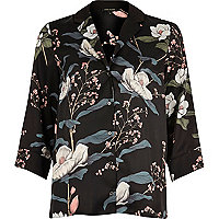 Black floral print cocktail shirt