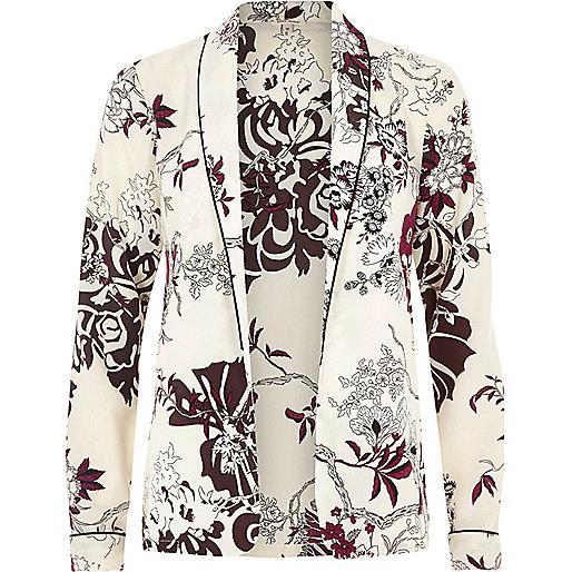 Hemdjacke in Creme mit Blumenmuster