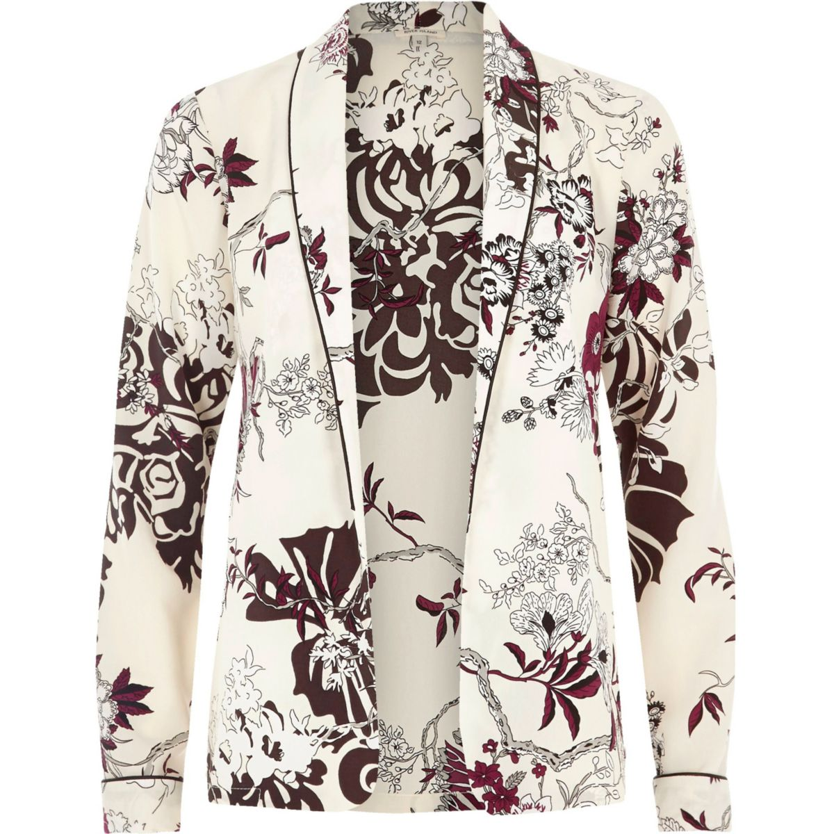 Cream floral print shirt jacket