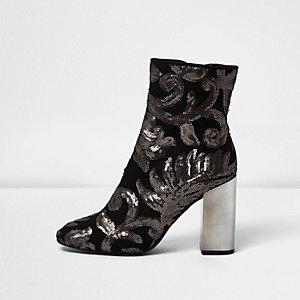 Grey embroidered sequin block heel boots