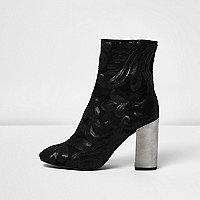 Black embroidered sequin block heel boots