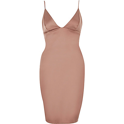 Pink plunge bodycon mini dress