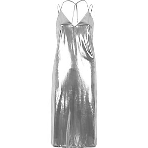 Silver lamé slip dress