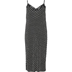 Black polka dot lace trim cami midi dress