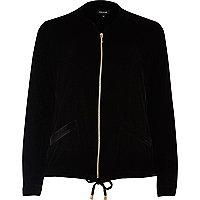Blouson-chemise noir en velours