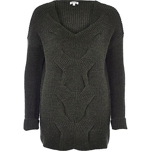 Khaki chunky knit sweater
