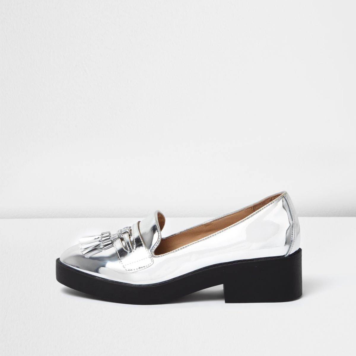 Silver chunky loafers