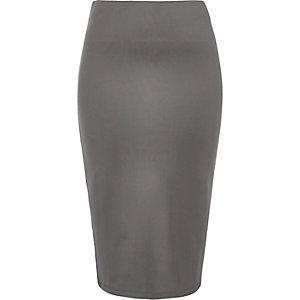 Grey jersey stripe pencil skirt