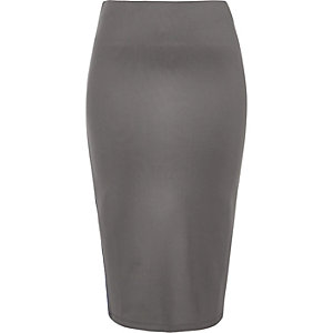 Grey jersey stripe pencil skirt