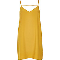 Dark yellow strap back cami dress