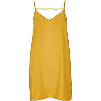 Robe caraco jaune foncé à lanières au dos
