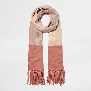Pink block knit scarf