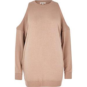 Roze schouderloze sweater