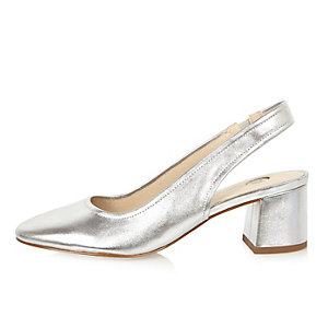 Silver leather slingback heeled shoes