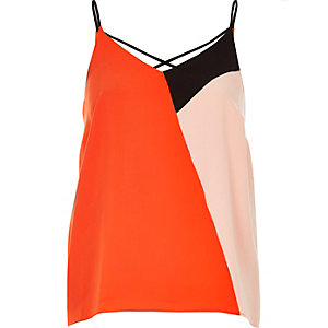 Red colour block strappy cami