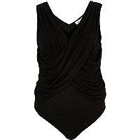 Black draped bodysuit