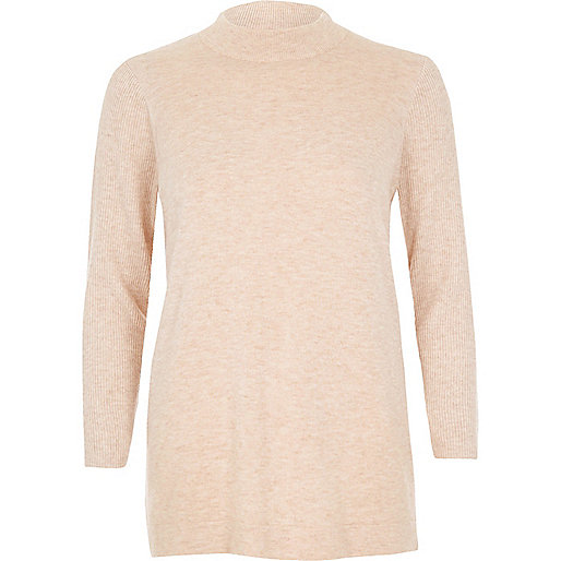 Pullover mit Wickeldesign hinten in Beige