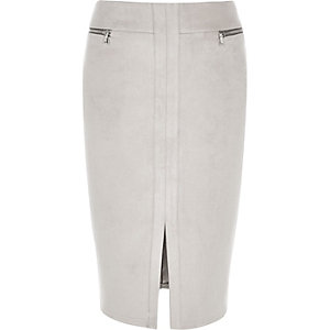 Grey zip detail pencil skirt