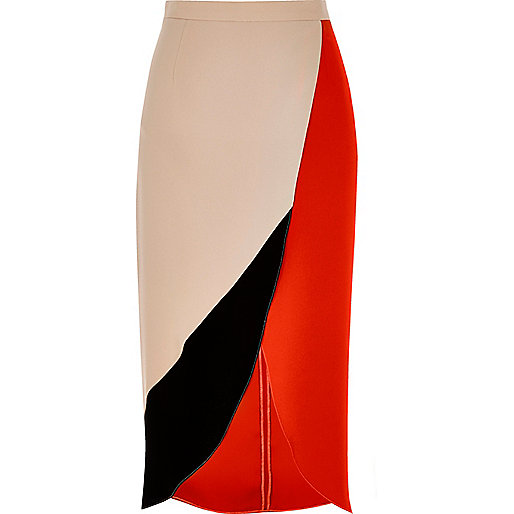 Red colour block wrap midi skirt