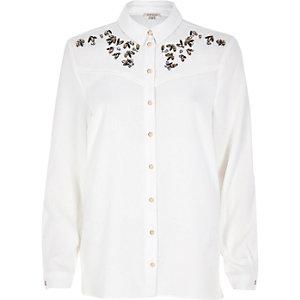 White embellished peaches shirt