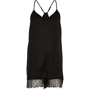 Black lace hem playsuit