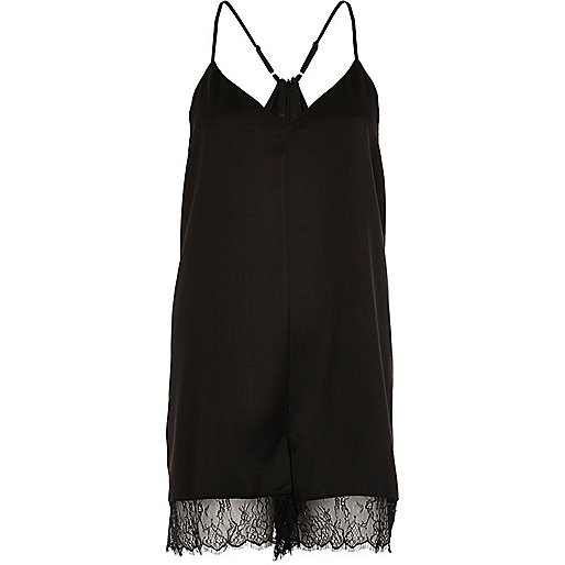 Black lace hem playsuit