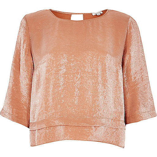 Metallic orange layered hem top