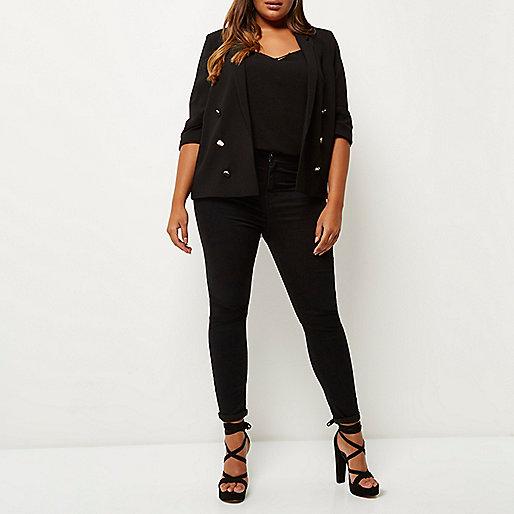 Plus black buttoned blazer