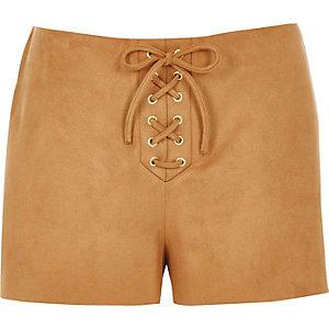 Tan faux suede lace-up shorts