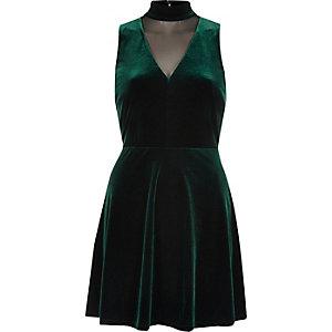 Dark green velvet choker mesh skater dress