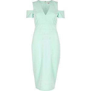 Green cold shoulder plunge dress