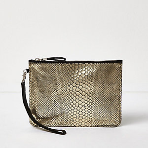 Gold snake embossed leather pouch purse