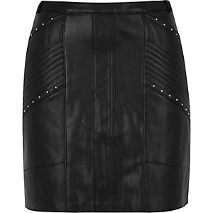 Black stud biker mini skirt