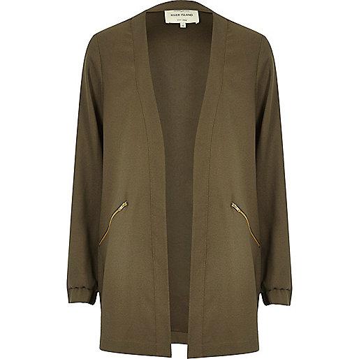 Khaki lightweight woven jacket