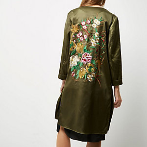 Khaki green embroidered duster