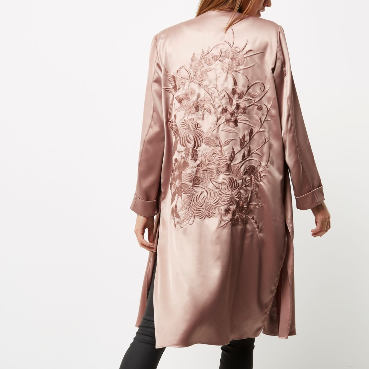 Pink embroidered duster coat