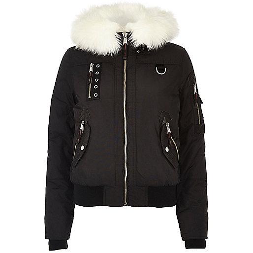 Black glam faux fur trim hooded bomber