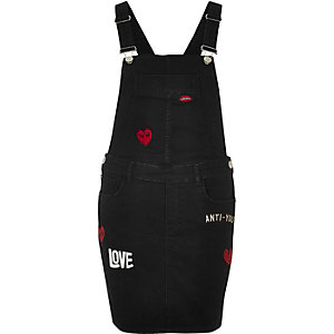 Black washed badge overall dress