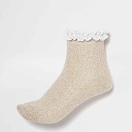 Gold frilly ankle socks