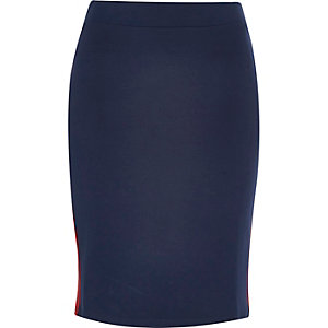 Red stripe jersey pencil skirt
