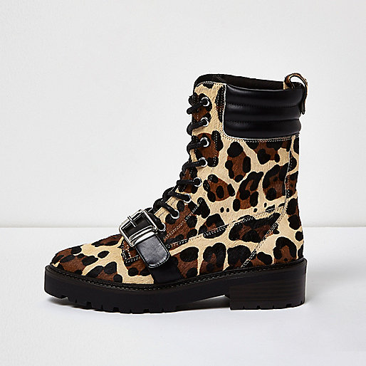 Leopard print pony leather boots