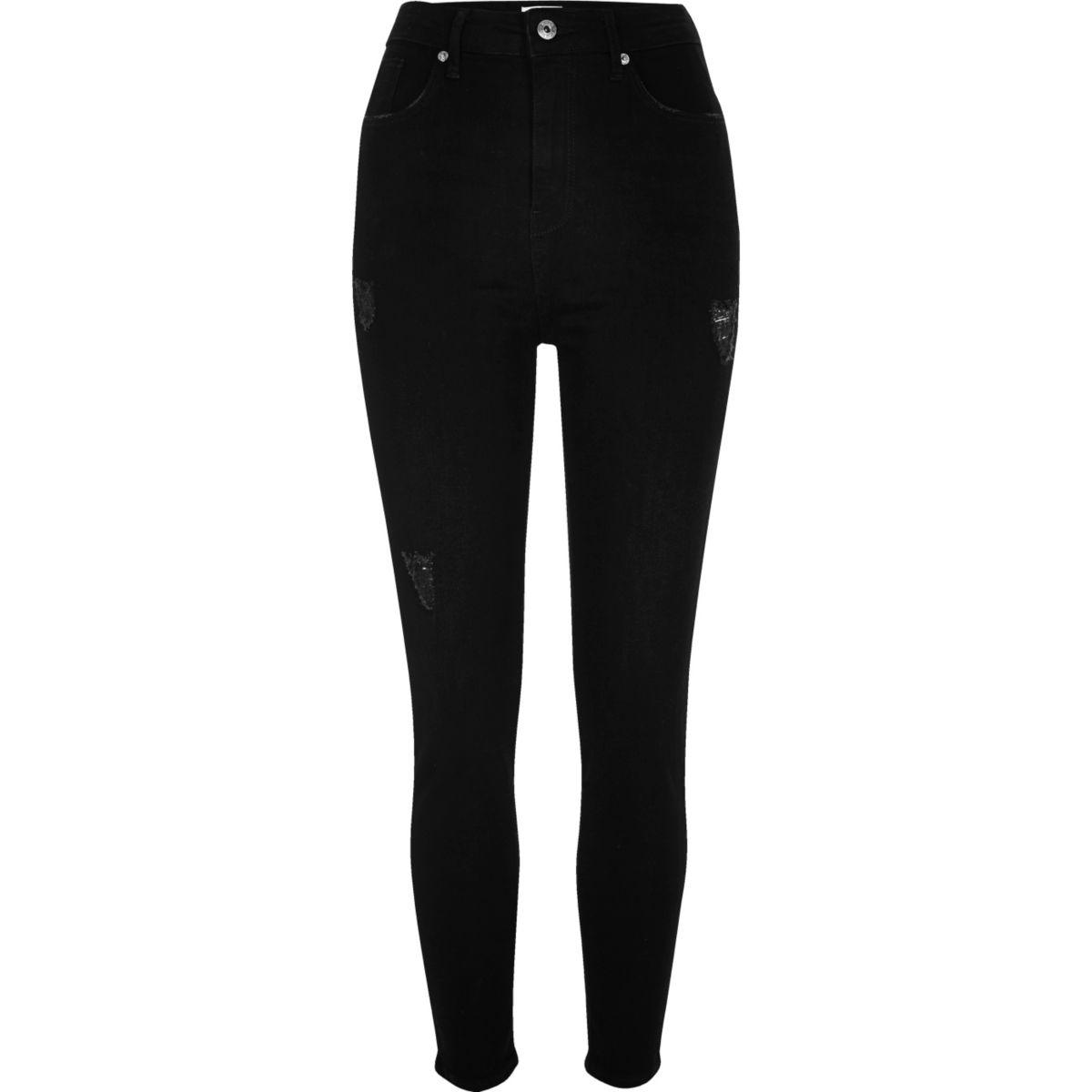 Harper – Jean skinny noir taille haute