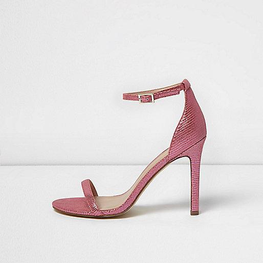 Sandales minimalistes effet écailles roses à talons