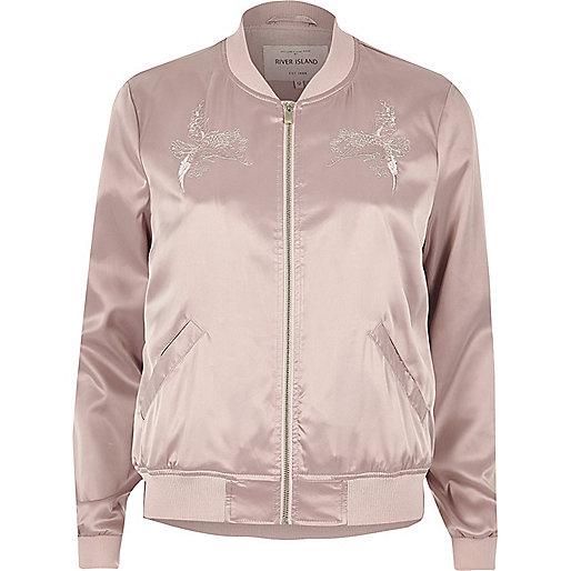 Light pink glam satin bomber jacket