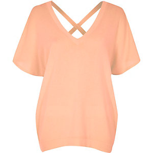 Coral cross back Sweater