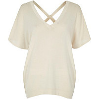 Cream knit cross back sweater