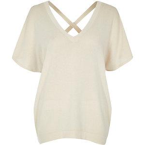 Cream knit cross back sweater